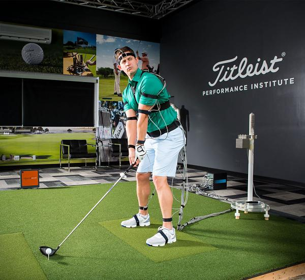 Golfer participating in a performance evaluation